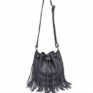 NWOT, Leather Fringe handbag, bucket bag, gray